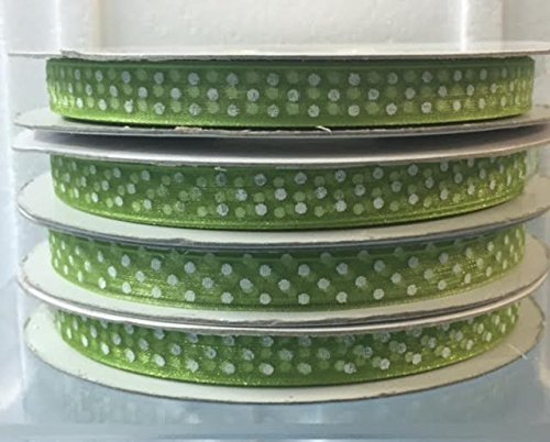 Nastro in Organza a Pois Verde 10 mm x 50 mt