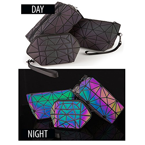 Pryzm Laser-Make-up-Taschen aus reflektierendem Material, leuchten im Dunkeln, Reise-Kosmetiktasche -