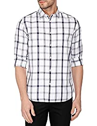 STOP by Shoppers Stop Mens Cutaway Collar Check Shirt