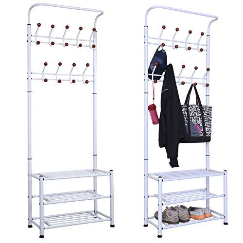 chinkyboo Metall Mehrzweck 18Haken Zum Aufhängen Coat Kleidung Ständer Schuhe Rack -68X 31X 188cm weiß