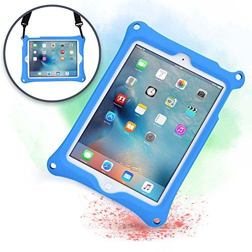 Cover Apple iPad 6, iPad 5, iPad Air 1, Custodia Rigida Cooper Bounce Strap Silicone Maxi Protezione Super Resistente Ottima per Bambini Viaggio Auto Supporto Tracolla con Cavalletto, Blu