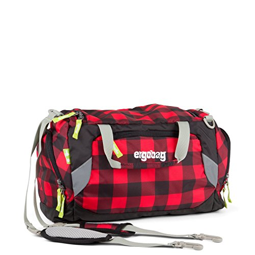 ERGOBAG LumBearjack Sac de sport grand format, 40 cm, 20 liters, Noir (Black Red Checks)