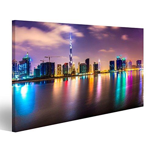 Bild Bilder auf Leinwand Dubai Skyline in der Dämmerung, UAE. Verschiedene Formate ! Direkt vom Hersteller ! Bilder ! Wandbild Poster Leinwandbilder ! FTN