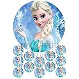 Frozen Elsa - Papel de oblea comestible para tartas, no personalizable, alta calidad