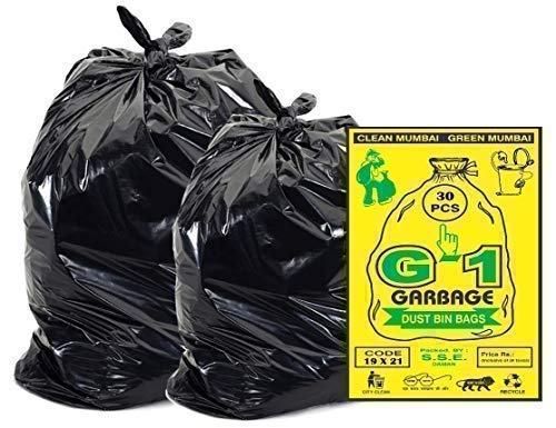 G 1® Garbage Bags Medium Black 19X21 inch | 3 Packs of 30 Pcs = 90 Pcs | Dustbin Trash Waste Dustbin Disposable Covers - Size 48 X 56 cm