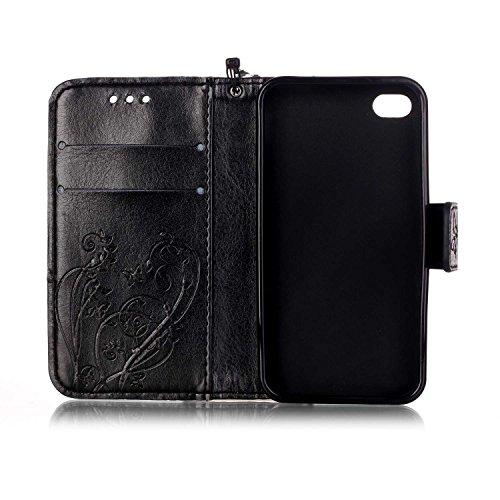 iPhone Case Cover Folio-Schlag-Standplatz-Fall, Mappen-Kasten mit Bargeld und Karten-Slot Premium-PU-Leder-Schutzhülle aus Silikon für iPhone4S ( Color : Blue , Size : IPhone 4S ) Black
