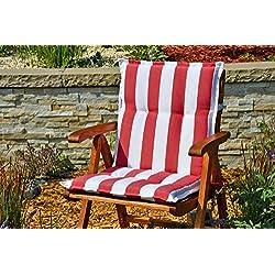 2cojines para sillón con respaldo baja 100x 50cm en rojo y blanco rayas sin silla
