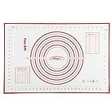 Nifogo Tapete de Silicona para Hornear Baking Mat Grande Antiadherente, Raspador de Regalo, Incluye Medidas, Libre de BPA, para Hacer Fondant Pizza Dough Tarta, 60 x 40 cm (Rojo)