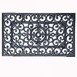 Türmatte Landhaus - ca 45x75 schwarz silber finish Gummimatte rechteckig