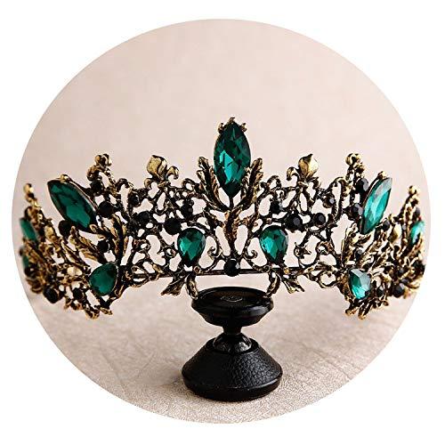 Davids Bridal Tiara (Barocke Weinlese Rot Grün Schwarz-Kristall-BrautTiara-Krone Gold-Festzug Strass Schleier Tiara Stirnband Hochzeit Haarschmuck, Antiqued Gold Grün)