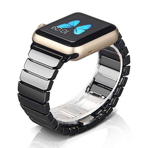 NotoCity Uhrenarmband Kompatibel mit Watch Armband Keramik Band Butterfly Metallschließe für Series 4 3 2 1 Unisex (42mm/44mm, Schwarz) Keramik-band