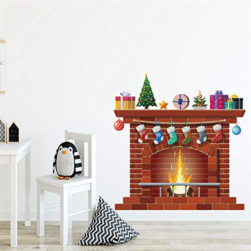 Pegatinas de Pared Infantil - Vinilo Decorativo Chimenea Navideña - Pegatina Pared Decoración Del...