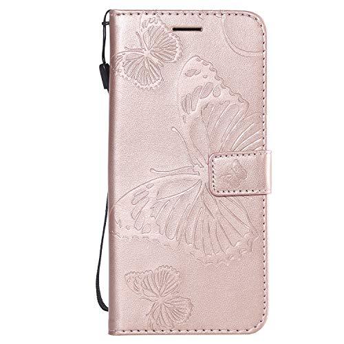 Preisvergleich Produktbild NEXCURIO Sony Xperia XZ3 Hülle Leder, Handyhülle Tasche Leder Flip Case Brieftasche Etui mit Kartenfach Stoßfest Kratzfest Schutzhülle für Sony Xperia XZ3 - NEKTU14009 Rosa Gold