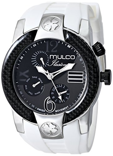 Mulco Men's Ilusion 46mm White Silicone Band Steel Case Quartz Black Dial Analog Watch MW51877015