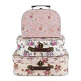 Lot de 3 valises de rangement vintage Rose