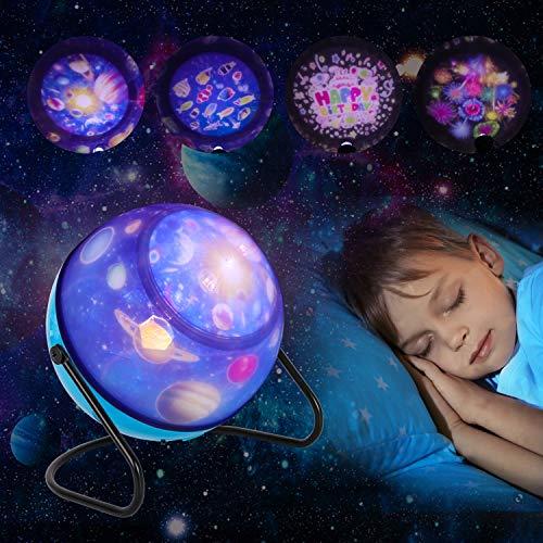 Projektor Lampe,Sternenhimmel LED Kinder Nachtlicht,360°Drehbare, 8 Muster und 3 Licht Modus, Perfekt für Kinderzimmer, Schlafzimmer, Geburtstag, Parteien, Weihnachten,Hochzeit