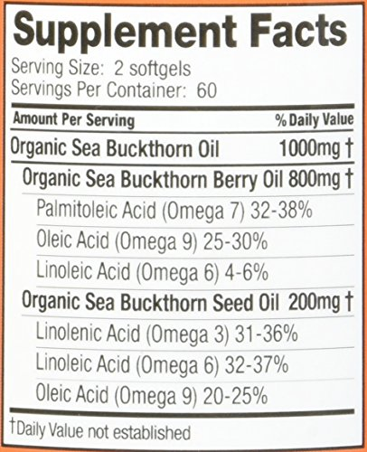 Sea Buckthorn Oil Blend, 500 mg Each, 120 Softgels