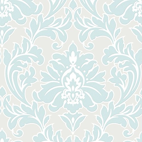 Superfresco Easy Paste The Wall Majestic Damask Print Duck Egg Wallpaper 32 680