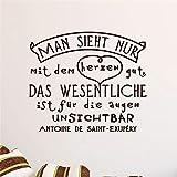 wandaufkleber kinderzimmer jungs deutsch zitat man sieht nur mit dem herzen gut für wohnzimmer schlafzimmer