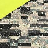 0,5m Softshell Beton Zement - Fleece-Rückseite in neon