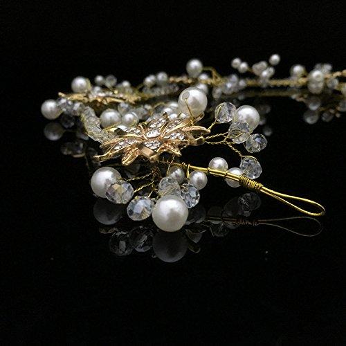 Baile De La Boda Novia Hechos A Mano Girasol De Oro Perlas De Cristal Tiara Casco