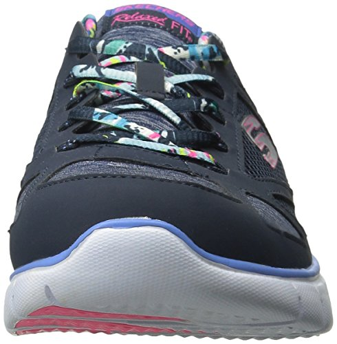 Skechers Flex Tropical Vibes, Baskets Basses Femme Navy Multi