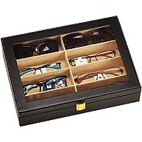 unionplus in finta pelle di coccodrillo scatola 8slot per occhiali occhiali da sole occhiali Display Custodia Organizer Collector nero