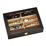 unionplus Krokodil Kunstleder Box 8Slots für Sonnenbrillen Display Fall Lagerung Organizer Collector schwarz