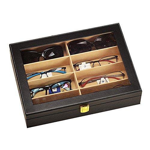 Krokodil-Kunstleder Box Unionplus 8Einschübe für Sonnenbrillen oder Brillen, Display Aufbewahrung, Organizer Sammelbox schwarz
