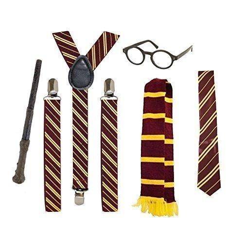 Schule Junge Zauberer Maskenkostüm Accessoires (Brillen, Krawatte, Schal, Hosenträger & Zauberstab)