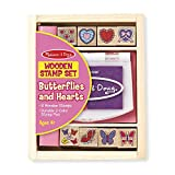 Melissa & Doug Butterfly and Heart Wooden Stamp Set (8 Stamps and 2-Color Stamp Pad)