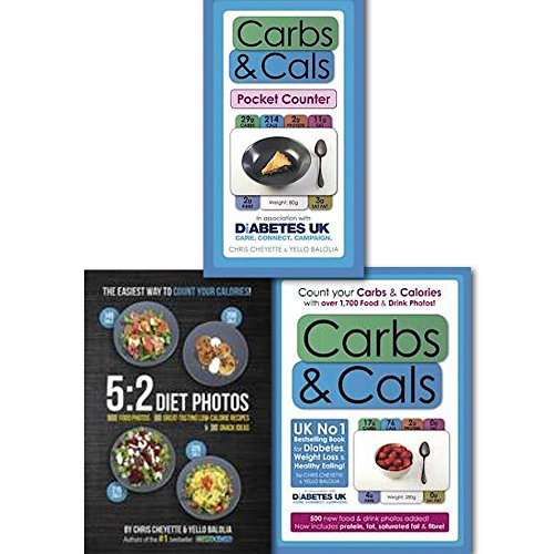Count Your Calories and Carbs 5:2 Diet, Carbs and Cals Photos By Chris Cheyette (5:2 Diet Photos: 600 Food Photos, 60 Low-Calorie Recipes & 30 Snack Ideas, Carbs & Cals Pocket Counter and Carbs & Cals: Count your Carbs & Calories