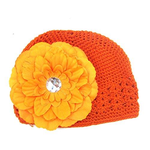 Fuibo Kleinkinder Infant Baby Mädchen Mode Blume aushöhlen Hut Headwear Strickmütze (Orange) (Mode-mädchen-hut)