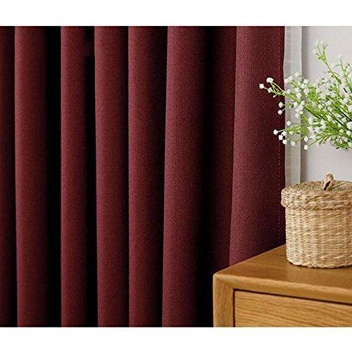 Anhpi tende di cotone di colore solido dell ombra tende di gancio della camera da letto del soggiorno della finestra della baia francese di windows,red-2.5 * 2.7m