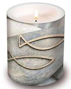 Bougie ronde pour communion ou confirmation Motif poisson sur pierre Ø 10,5cm Hauteur 12cm