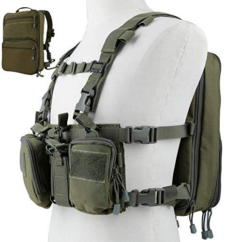 DETECH Taktische Weste Airsoft Ammo Chest Rig Magazine Träger mit Molle Flat Pack Assault Pack Rucksack