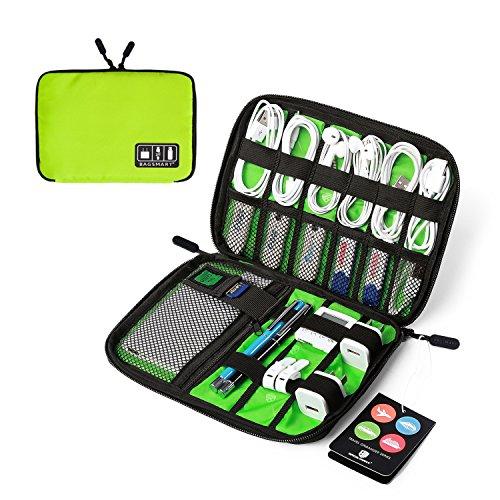 BAGSMART Elektronikzubehör Aufbewahrungstasche für Energy-Banks, USB Drive Shuttle, Kabel Grün -