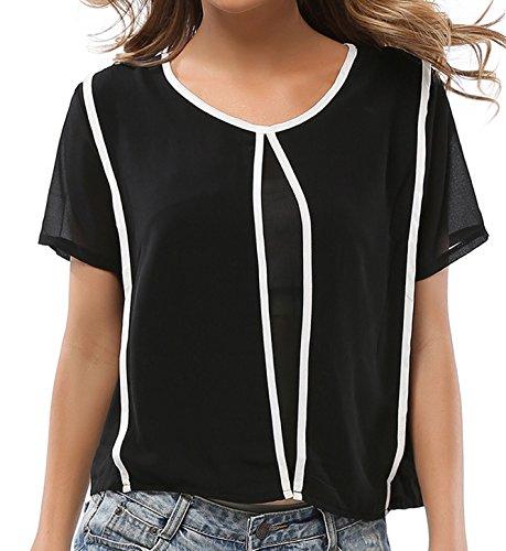 Sommer Oberteile Damen Reizvolle Rundhals T-shirt Kurzärmlig Hemden Chiffon Top Spleißen Blouse Freizeit Blusen Schwarz