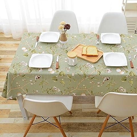Jhxena Im Europäischen Stil, Baumwolle Und Leinen Tischdecke Wasserdicht Und Öldicht Rechteckige Blume Tischdecke, Grün 130 X 200 (Blumen Plastiktischdecke)