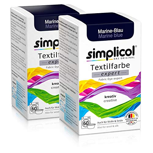 Simplicol Textilfarbe expert Marine-Blau 1708, 2er Pack: Farbe für kreatives, einfaches Färben in der Waschmaschine oder manuell -