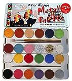 Eulenspiegel Schminkpalette, 3 Glitzer und 3 Pinsel, 21 Farben