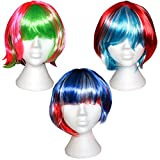 Set 3 Parrucche Colorate Corte Lunghe Donne da Kurtzy - Parrucche Caschetto Capelli Sintetici Non Ricci- Adatto per Travestimenti Feste in Costume- Parrucche Rosa, Verde, Blu e Rosse con Frangia