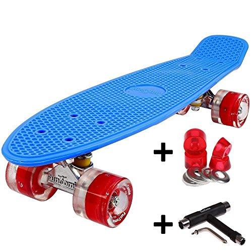 FunTomia Mini-Board 57cm Skateboard mit oder ohne LED Leuchtrollen inkl. Aluminium Truck und Mach1 ABEC-11 Kugellager in verschiedenen Farben zur Auswahl T-Tool (Deck in blau2 / Rollen in rot mit LED + T-Tool + weichen Lenkgummis)