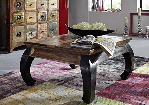 Table basse carrée 80x80cm - Bois massif recyclé multicolore laqué - Inspiration Ethnique - SPIRIT #71
