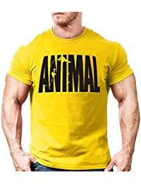 2be2245a INCLUDS Animal Print Tracksuit t Shirt Muscle Shirt Trends in 2016 Fitness  Cotton Brand Clothes for Men…
