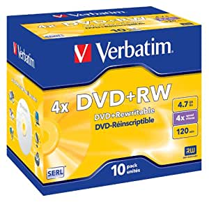 Verbatim 43246 4x DVD+RW - Jewel Case 10 Pack