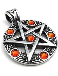 KONOV Schmuck Retro Edelstahl Pentagramm Herren-Anhänger mit 50-70cm Kette, Biker Halskette, Rot Schwarz Silber