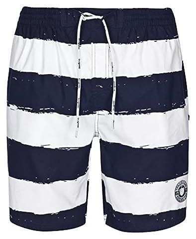 Bugatti ® men's swim shorts, blue and white striped size XXXL