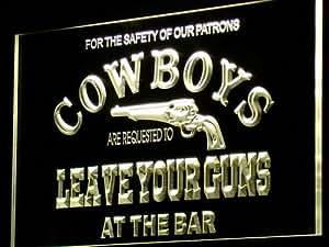 ADV PRO i783-y Cowboys Leave Guns Bar Beer Neon Light Sign Barlicht Neonlicht Lichtwerbung