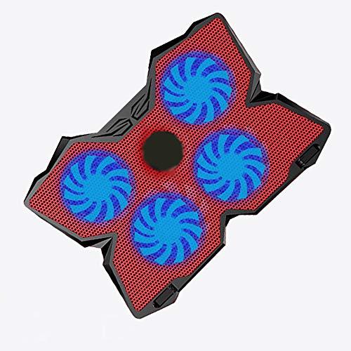 ZYG.GG Laptop-Kühler Notebook-Kühler USB-Powered 4 Lüfter Laptop-Kühlkissen Schlankes Design Kissen Einstellbare Geschwindigkeit Spiel Laptopständer,Red